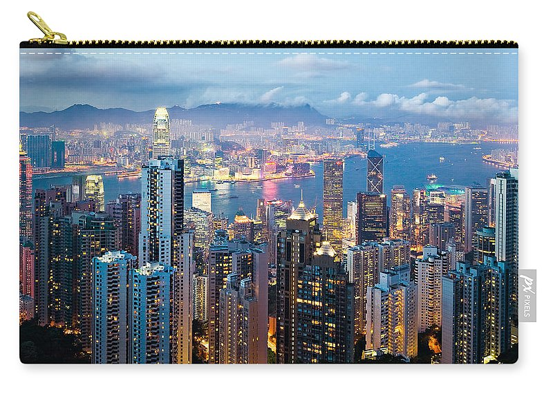 Hong Kong Carry-all Pouch featuring the photograph Hong Kong At Dusk by Dave Bowman