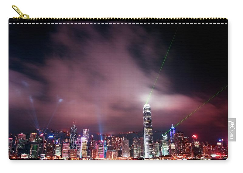 Tranquility Carry-all Pouch featuring the photograph Hong Kong Laser Lights by Photo By Dan Goldberger
