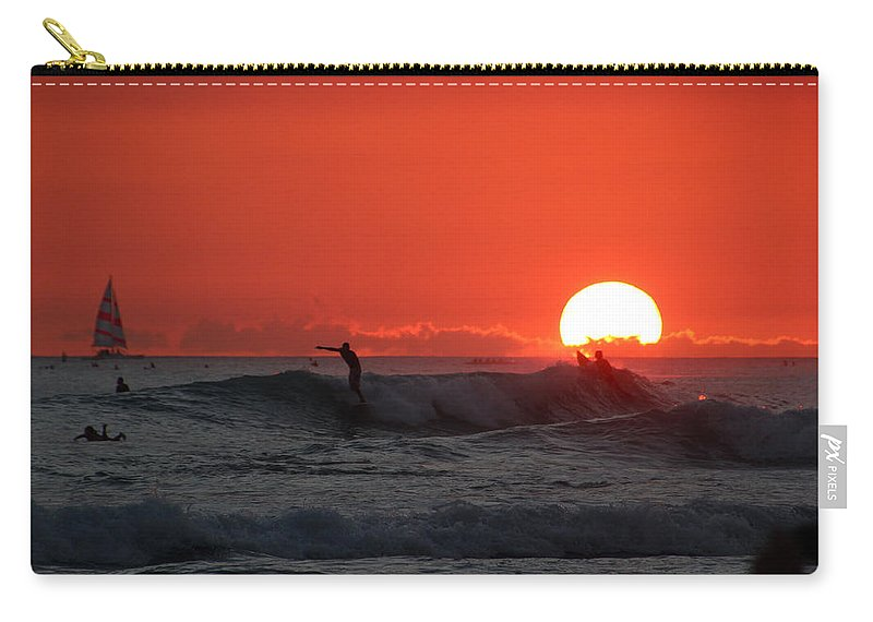 Sunset Carry-all Pouch featuring the photograph Honolulu At Sundown by Linda Romine