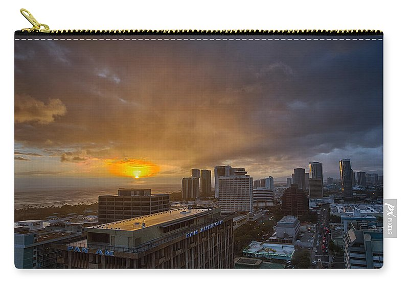Hawaii Carry-all Pouch featuring the photograph Honolulu Sunset by Dan McManus