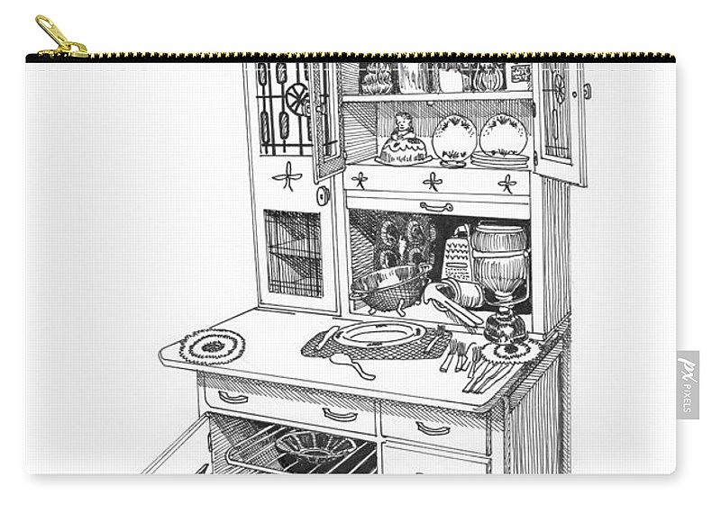 A Hoosier Cabinet (also Known As A hoosier) Is A Type Of Cupboard Popular In 1910- 1930s Carry-all Pouch featuring the drawing Hoosier Kitchen by Jack Pumphrey