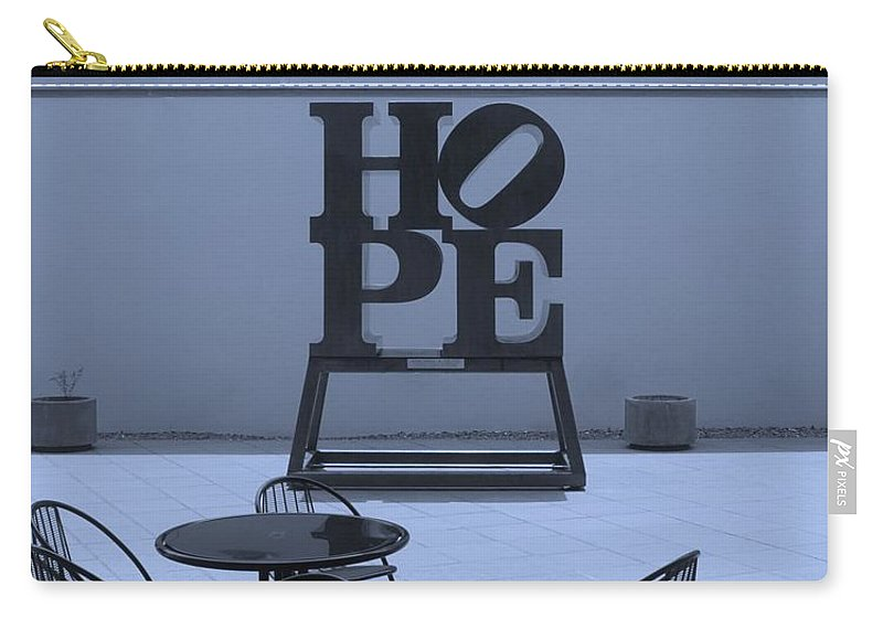 Hope Carry-all Pouch featuring the photograph Hope And Chairs In Cyan by Rob Hans