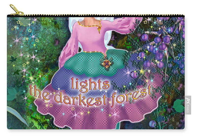 Fairy Carry-all Pouch featuring the painting Hope Lights The Darkest Forest by Teresa Ascone