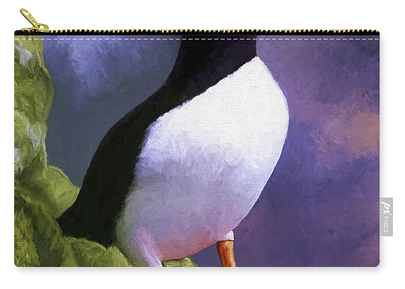 Animal Carry-all Pouch featuring the painting Horned Puffin by David Wagner