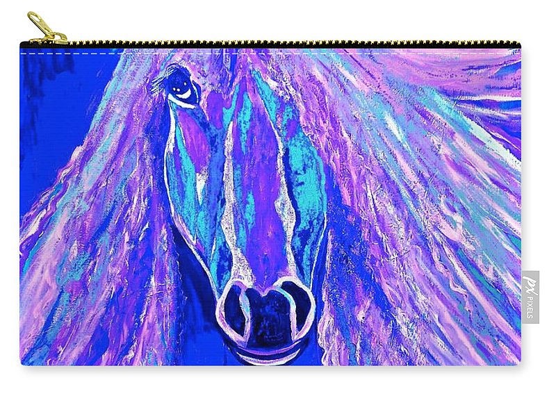 Horse Carry-all Pouch featuring the painting Horse Abstract Blue And Purple by Saundra Myles