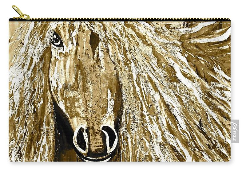 Horse Carry-all Pouch featuring the painting Horse Abstract Neutral by Saundra Myles