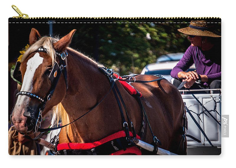 Horse Carry-all Pouch featuring the photograph Horse And Rider by Jon Cody