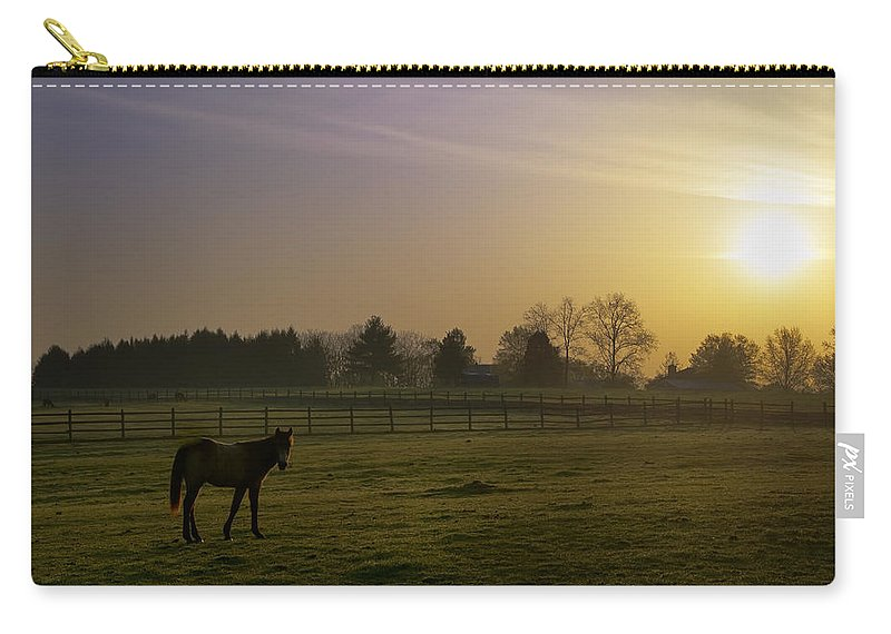 Horse Carry-all Pouch featuring the photograph Horse Farm Sunrise by Bill Cannon