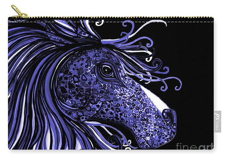 Horse Carry-all Pouch featuring the drawing Horse Head Blues by Nick Gustafson