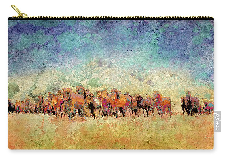 Horse Carry-all Pouch featuring the digital art Horse Herd by Ynon Mabat