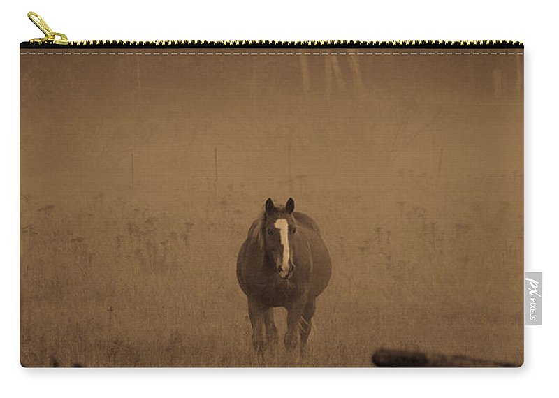 Horses Carry-all Pouch featuring the photograph Horse In The Mist by Cheryl Baxter