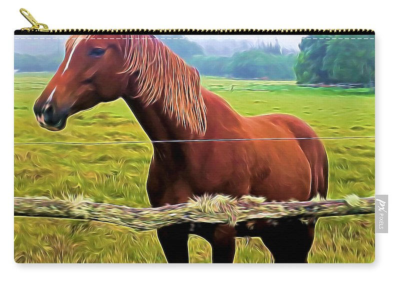 Horse Carry-all Pouch featuring the mixed media Horse In The Pasture by Pamela Walton