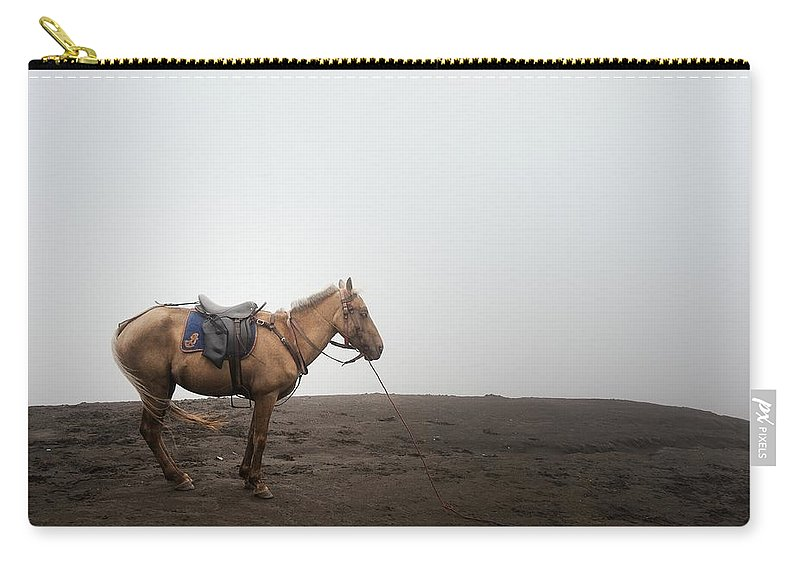 Horse Carry-all Pouch featuring the photograph Horse On A Mountain On A Foggy Day by Carlina Teteris