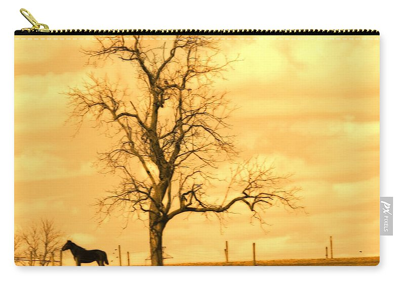 Horse Carry-all Pouch featuring the photograph Horse On The Hill by Alice Gipson