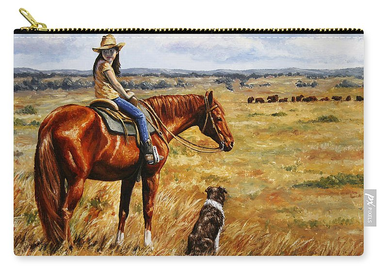 Western Carry-all Pouch featuring the painting Horse Painting - Waiting For Dad by Crista Forest