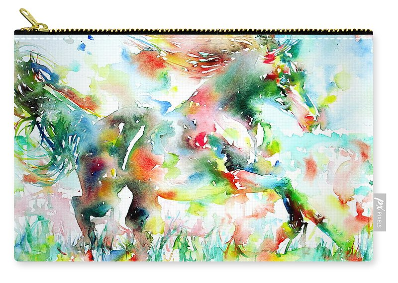 Horse Carry-all Pouch featuring the painting Horse Painting.36 by Fabrizio Cassetta