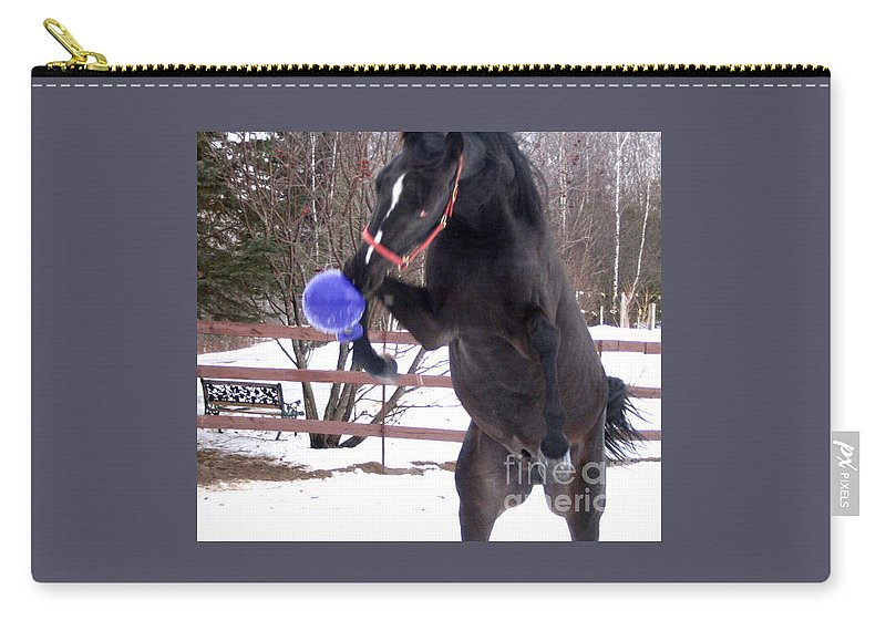 Horse Carry-all Pouch featuring the photograph Horse Playing Ball by Line Gagne