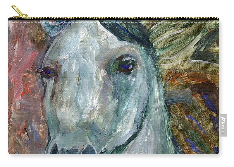 Horse Carry-all Pouch featuring the painting Horse Portrait 103 by Linda Mears