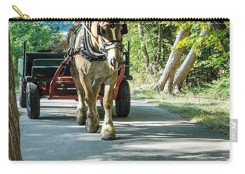 Horse Powered Mackinac Island Carry-all Pouch featuring the photograph Horse Powered Mackinac Island by LeeAnn McLaneGoetz McLaneGoetzStudioLLCcom