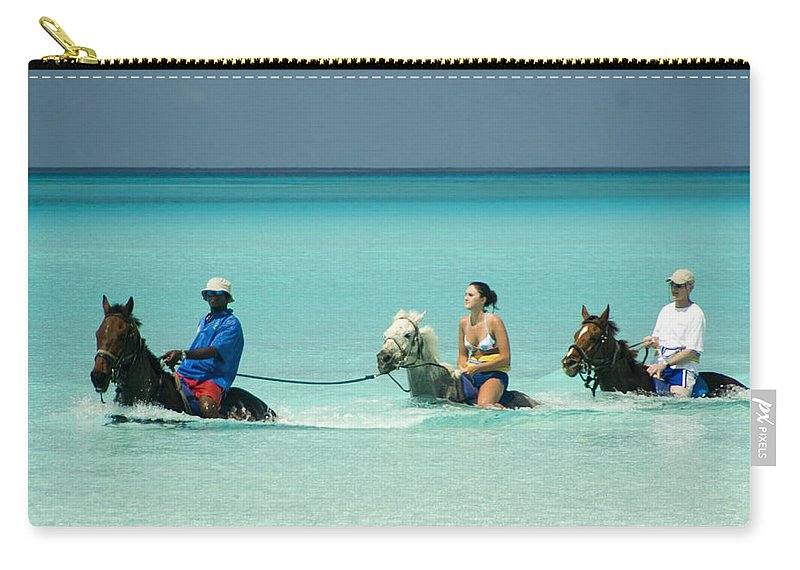 Horseback Carry-all Pouch featuring the photograph Horse Riders In The Surf by David Smith