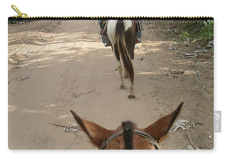 Horse Riding In The Pantenal Carry-all Pouch featuring the digital art Horse Riding by Carol Ailles