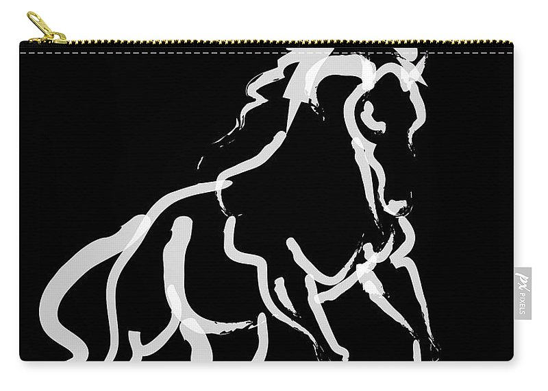 Jumping Horse Carry-all Pouch featuring the painting Horse White Runner by Go Van Kampen