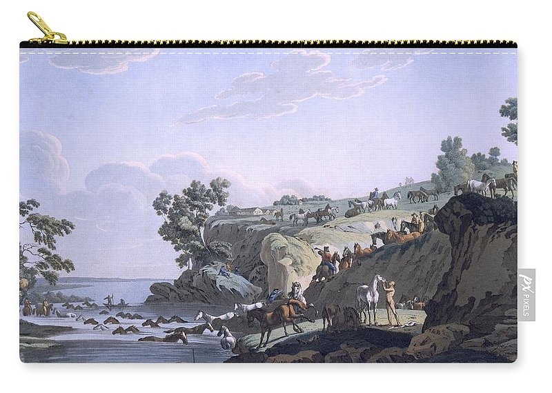 Illustration Carry-all Pouch featuring the drawing Horses Crossing A River, 1812-13 by E. Karnejeff