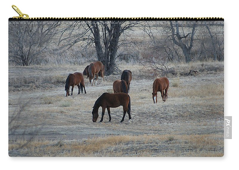 Fields Carry-all Pouch featuring the digital art Horses by Ernie Echols