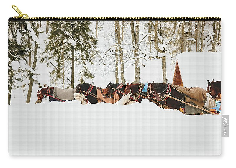 Hay Carry-all Pouch featuring the photograph Horses by Pati Photography