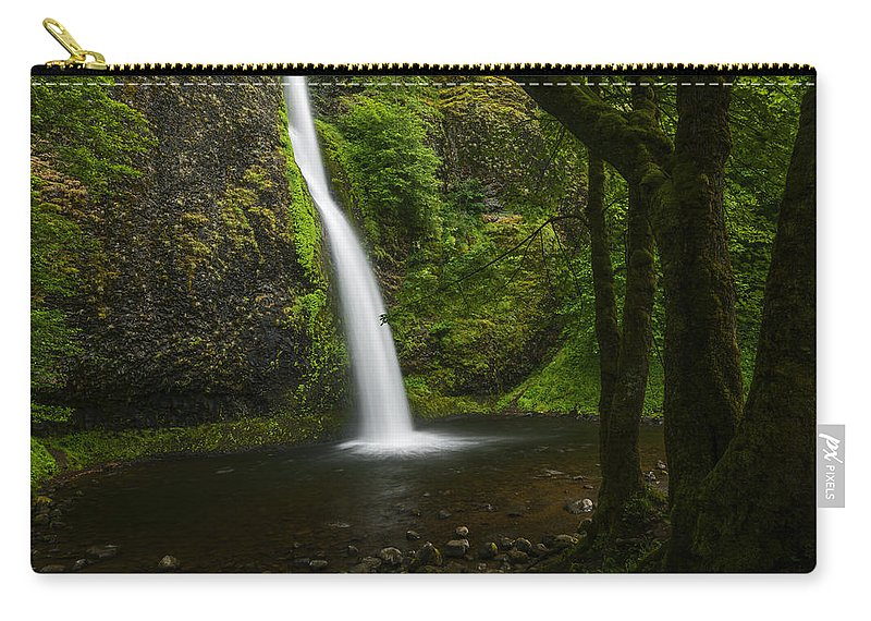 Horsetail Falls Carry-all Pouch featuring the photograph Horsetail Falls Columbia River Gorge by Vishwanath Bhat