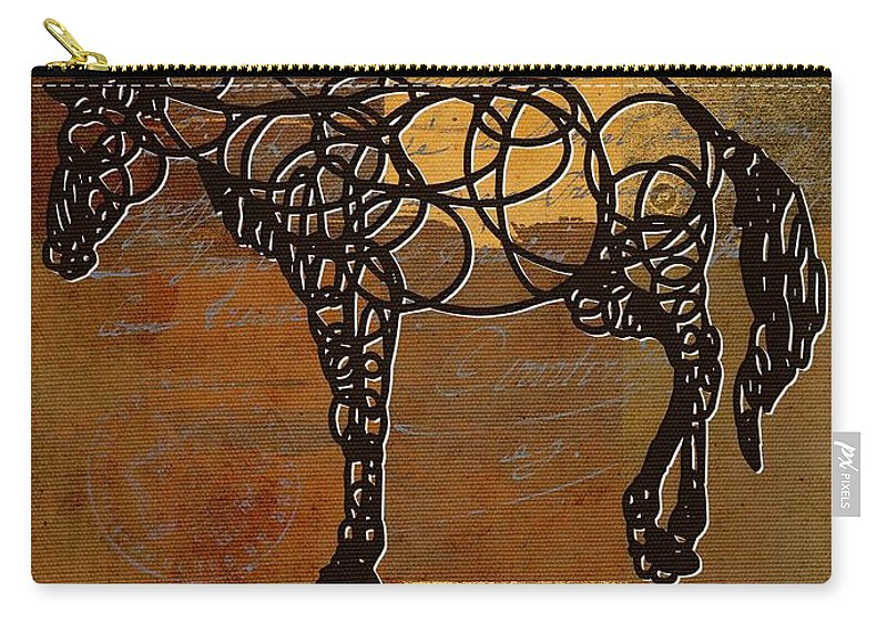 Horse Carry-all Pouch featuring the digital art Horso - 70s01br02t by Variance Collections