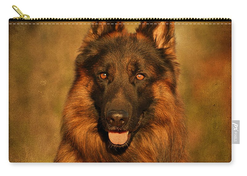German Shepherd Carry-all Pouch featuring the photograph Hoss - German Shepherd Dog by Sandy Keeton
