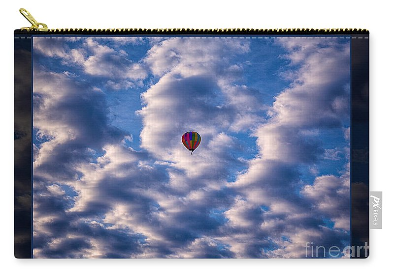 5x7 Carry-all Pouch featuring the photograph Hot Air Balloon In A Cloudy Sky Abstract Photograph by Omaste Witkowski