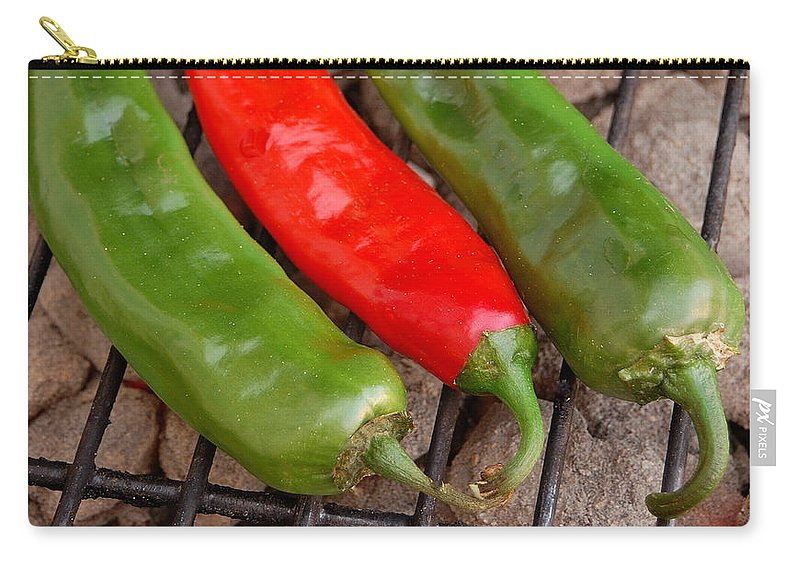 Mexican Carry-all Pouch featuring the photograph Hot And Spicy - Chiles On The Grill by Steven Milner
