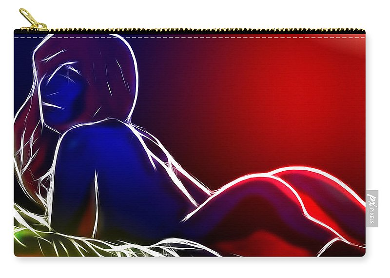 Babe Female Girl Woman Nude Naked Stockings Color Colorful Erotic Sexy Sensual Tits Boobs Carry-all Pouch featuring the painting Hot Babe by Steve K