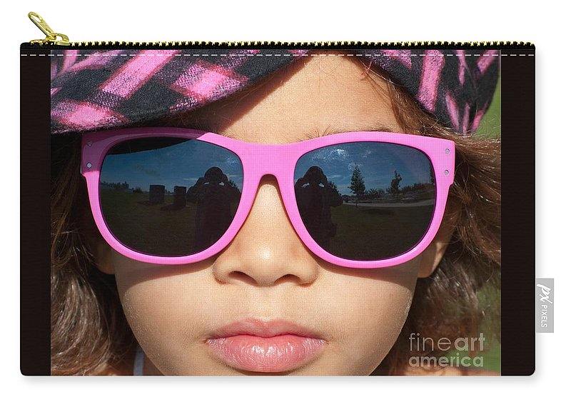 Sunglasses Carry-all Pouch featuring the photograph Hot Pink Sunglasses by Ann Horn