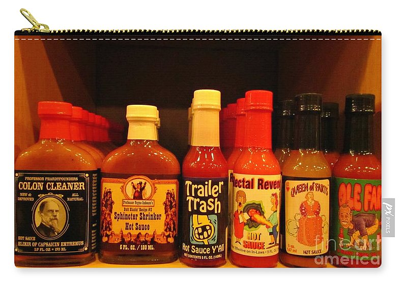 Hot Sauce Art Carry-all Pouch featuring the photograph Hot Sauce Display Shelf Three by John Malone