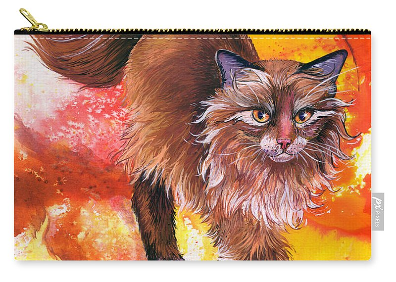 Cat. Kitty Carry-all Pouch featuring the painting Hot Stuff by Sherry Shipley