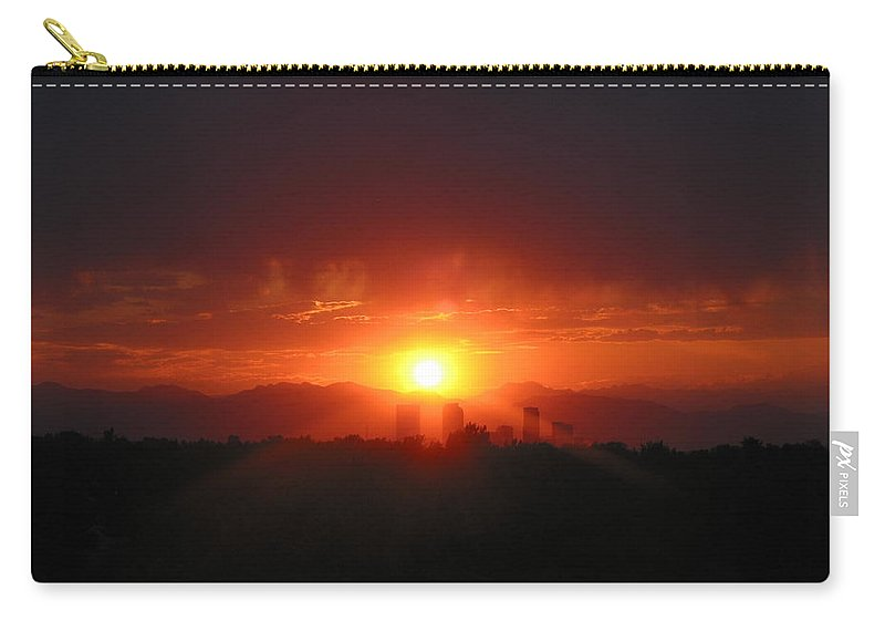 Denver Co Sunset Carry-all Pouch featuring the photograph Hot Summer Nighti IIi Denver Co by Jacqueline Russell