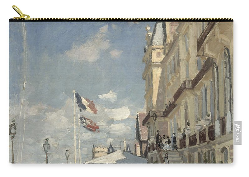 Claude Monet Carry-all Pouch featuring the painting Hotel Des Roches Noires by Claude Monet