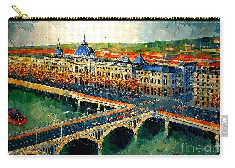Hotel-dieu De Lyon Carry-all Pouch featuring the painting Hotel Dieu De Lyon II by Mona Edulesco