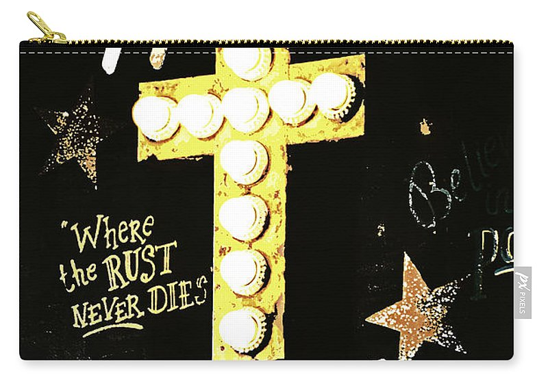 Sign Carry-all Pouch featuring the photograph House Of Rust by Chastity Hoff
