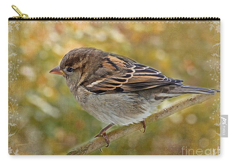 Nature Carry-all Pouch featuring the photograph House Sparrow II by Debbie Portwood