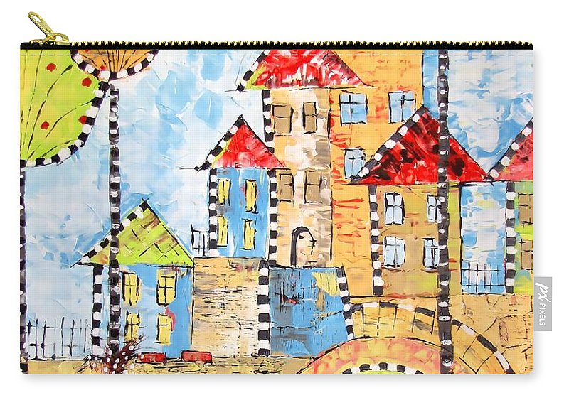 Graphics Carry-all Pouch featuring the painting Houses 0476 Marucii by Marek Lutek