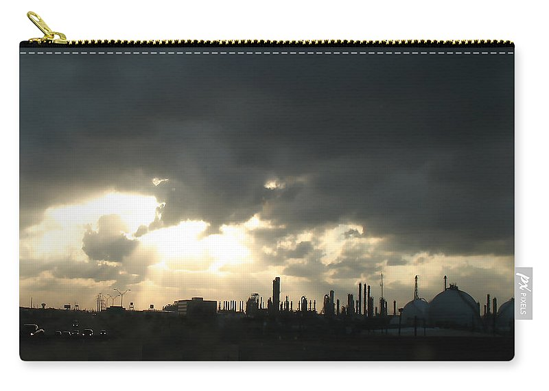 Sunbeams Carry-all Pouch featuring the photograph Houston Refinery At Dusk by Connie Fox
