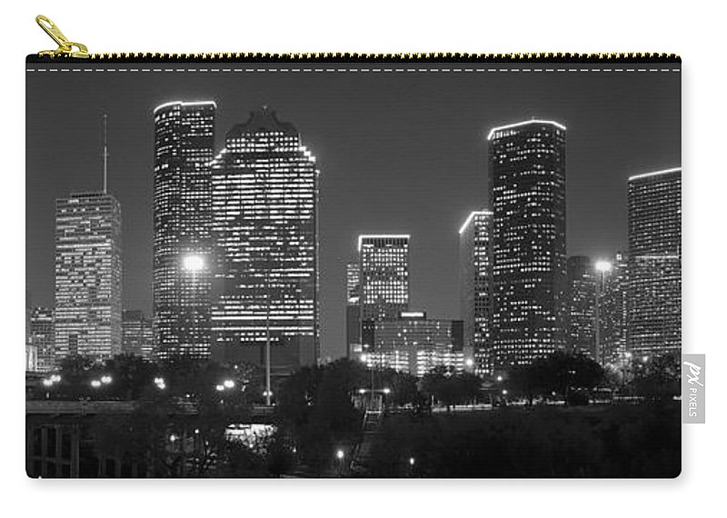 Houston Skyline At Night Carry-all Pouch featuring the photograph Houston Skyline At Night Black And White Bw by Jon Holiday