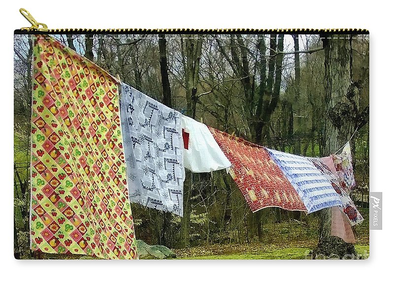 Quilts Carry-all Pouch featuring the painting How To Dry An American Quilt by RC DeWinter