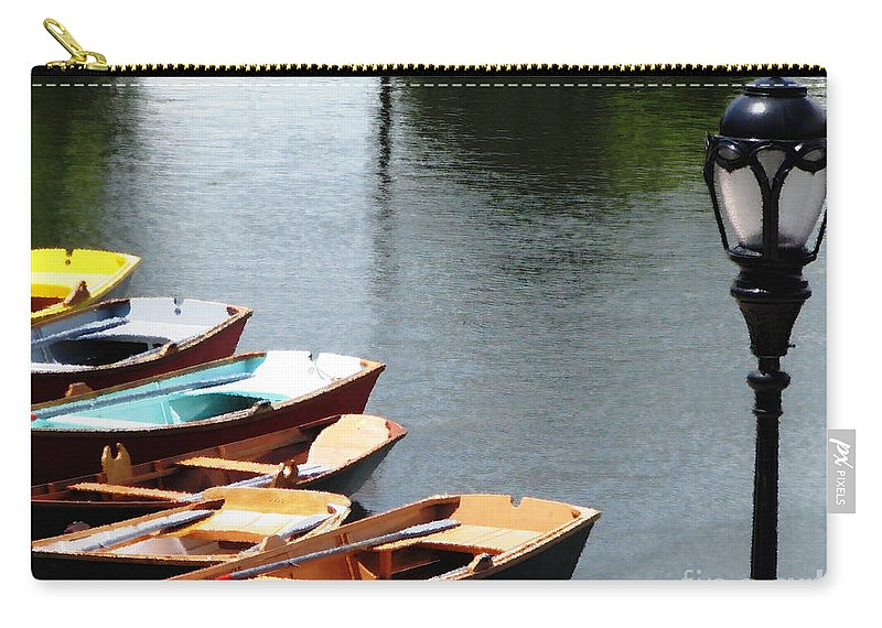 Hoyt Lake Carry-all Pouch featuring the photograph Hoyt Lakes Rowboats In Delaware Park Buffalo Ny Oil Painting Effect by Rose Santuci-Sofranko