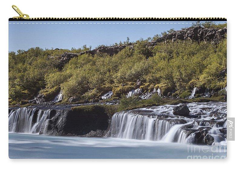 Lava Waterfalls Carry-all Pouch featuring the photograph Hraunfossar Iceland 9 by Gunnar Orn Arnason