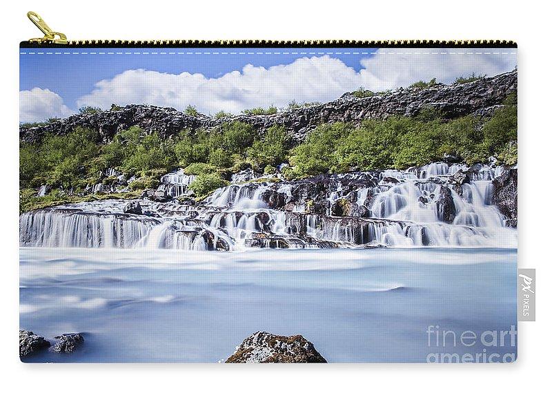 Lava Waterfalls Carry-all Pouch featuring the photograph Hraunfossar Iceland by Gunnar Orn Arnason